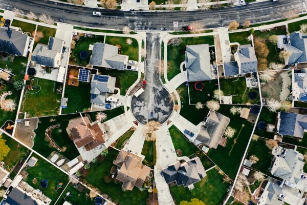 Aerial view of houses and a rotary